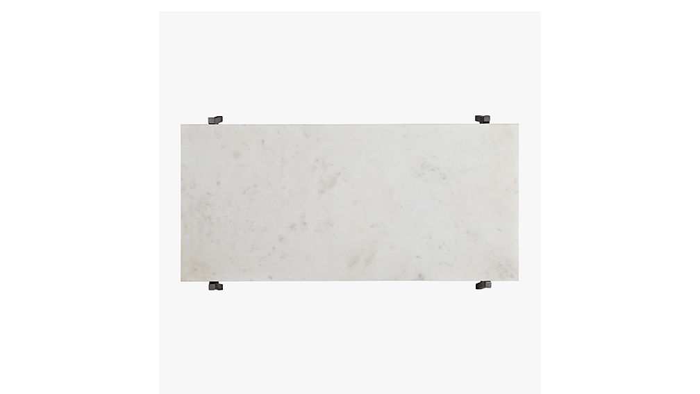 slab marble coffee table with antiqued silver base
