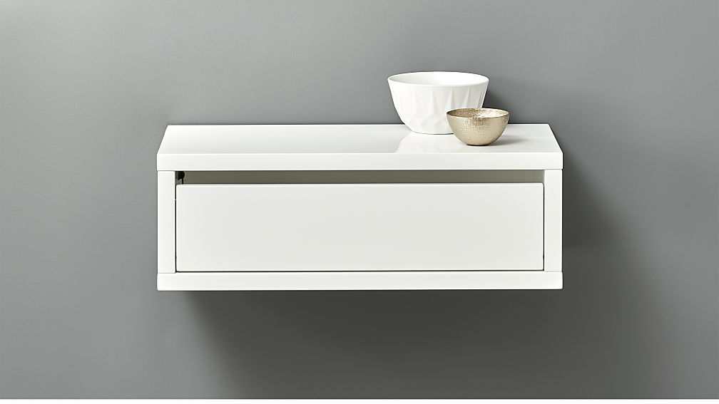 slice white wall mounted storage shelf ...