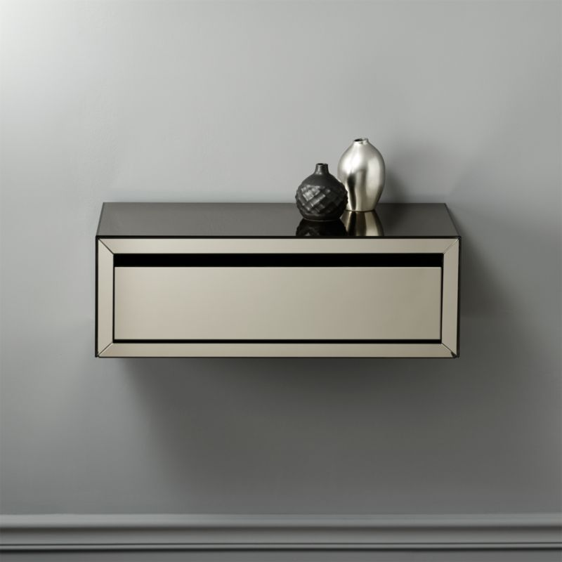 Slice Mounted Mirrored Wall Shelf Cb2