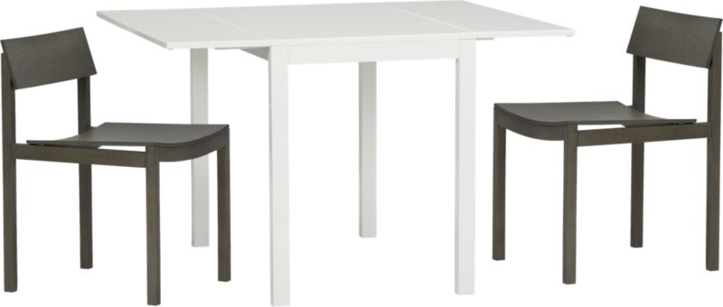 slide bistro table and 2 grey chairs