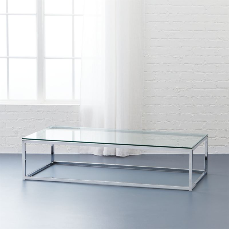 smart glass chrome and glass coffee table CB2