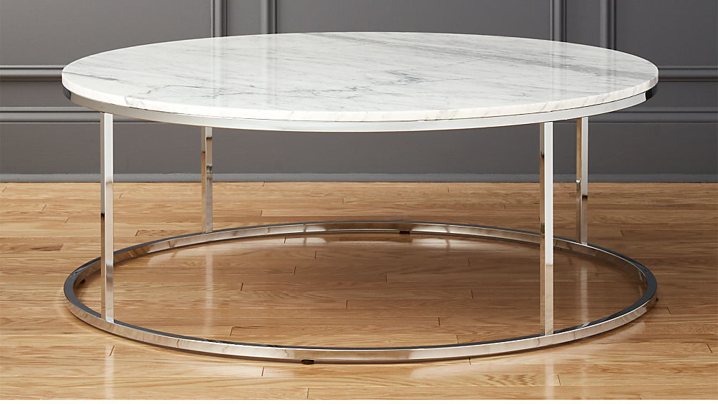 smart large round marble top coffee table cb2. Black Bedroom Furniture Sets. Home Design Ideas