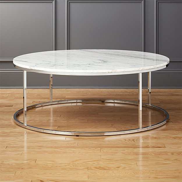 Smart large round marble top coffee table cb2 Round marble coffee tables