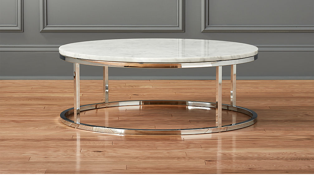 smart round marble top coffee table | cb2