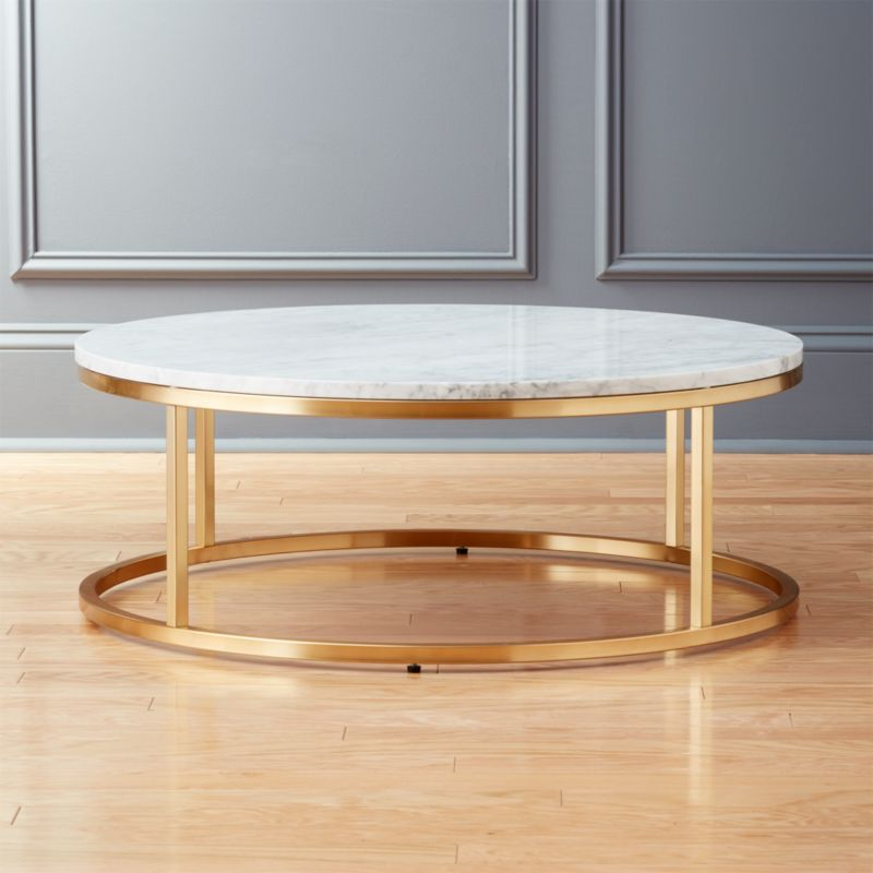 Smart Round Marble Brass Coffee Table Reviews CB2