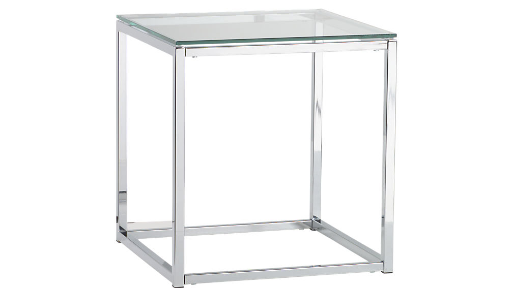smart chrome and glass side table CB2