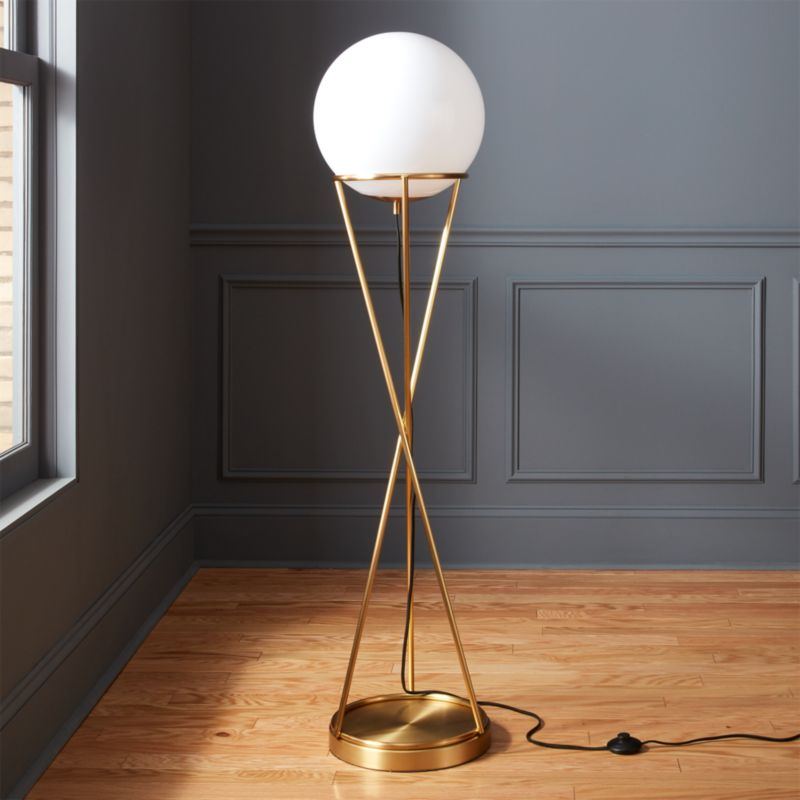 Modern floor lamps cb2 solis globe floor lamp mozeypictures Image collections