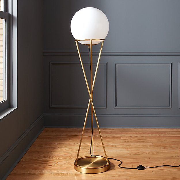solis globe floor lamp cb2. Black Bedroom Furniture Sets. Home Design Ideas