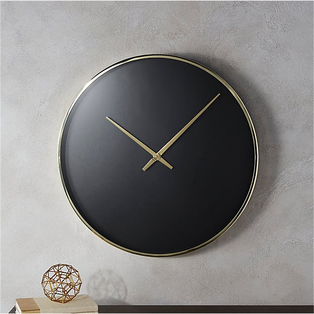 Solitaire Black And Gold Wall Clock Cb2