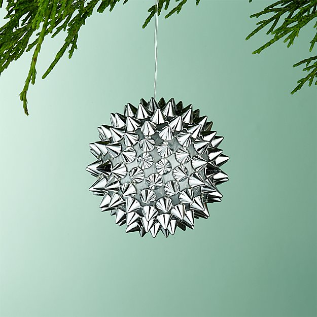Spike Ball Silver Ornament