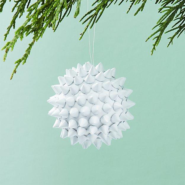 Spike Ball White Ornament