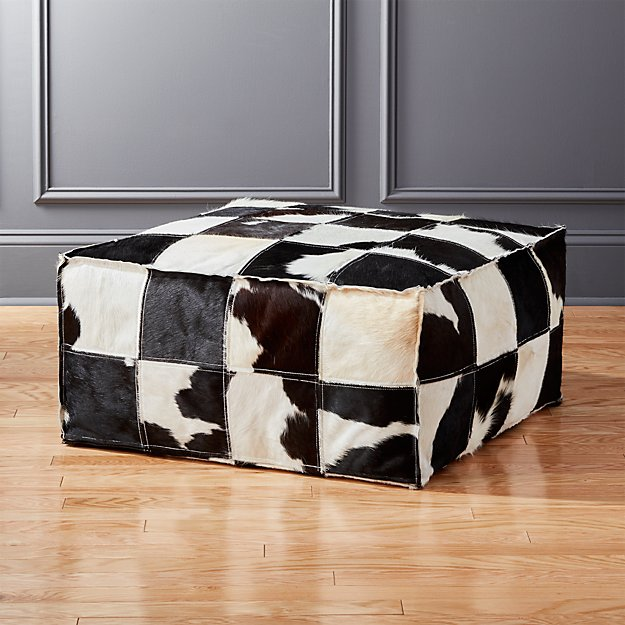 Large Spotted Cowhide Pouf Cb2