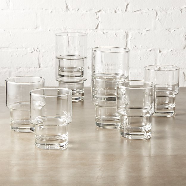 set of 8 stack double old-fashioned glasses
