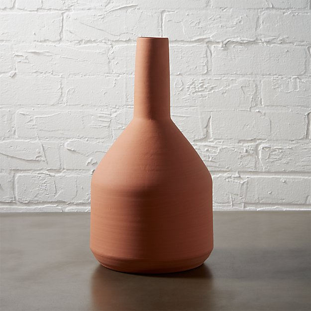 stack hand-thrown terracotta vase