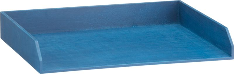 stained blue letter tray