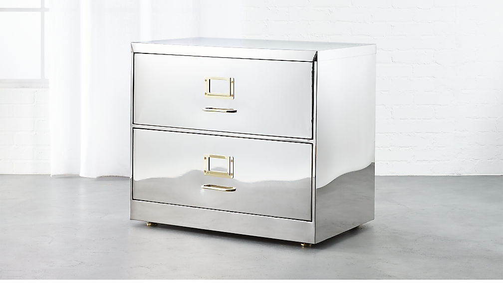 stainless steel wide file cabinet | cb2