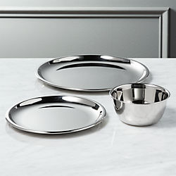 stainless steel serving plates and mini bowl