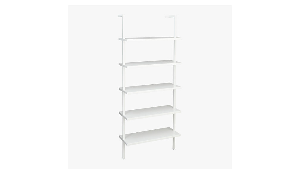 """stairway white 72.5"""" wall mounted bookcase"""