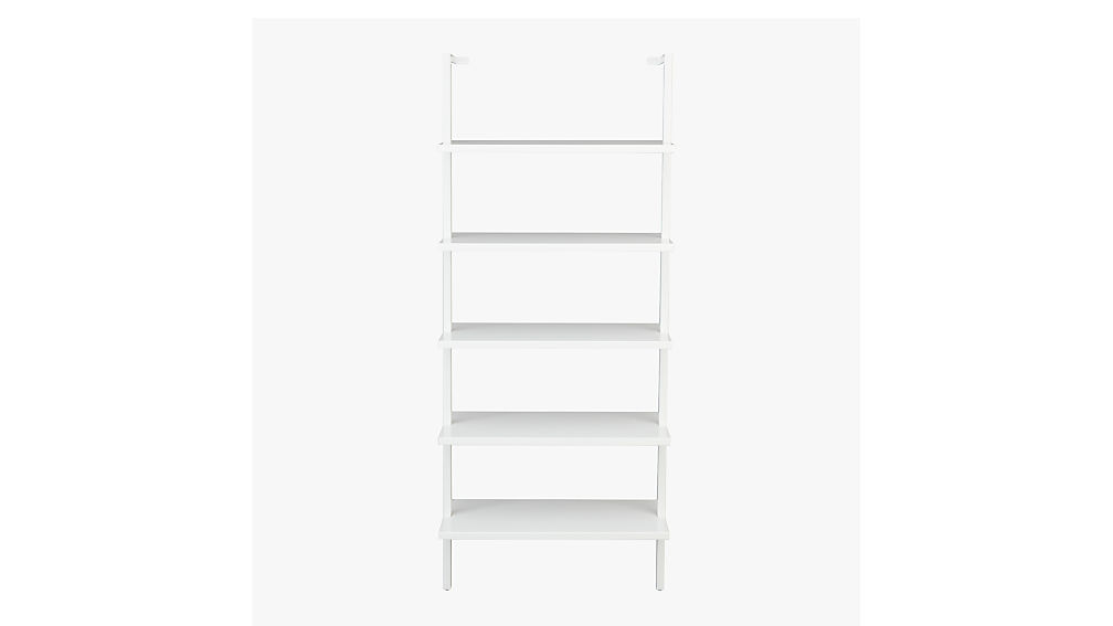 stairway white wall mounted bookshelf CB2