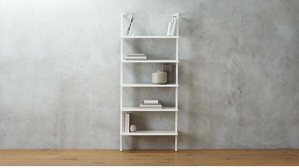 Stairway White Wall Mounted Bookshelf Reviews Cb2