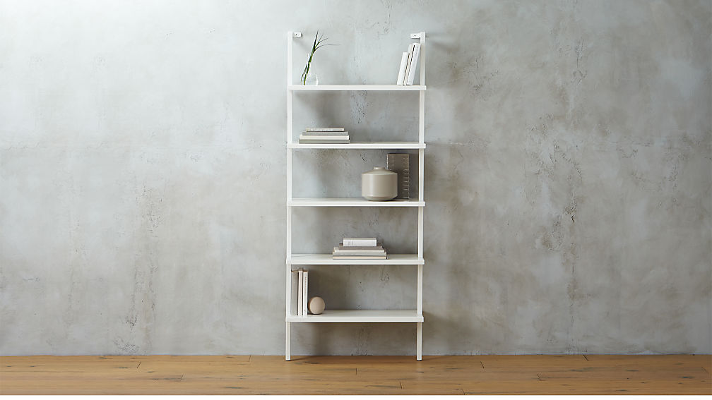 stairway white wall mounted bookshelfCB2