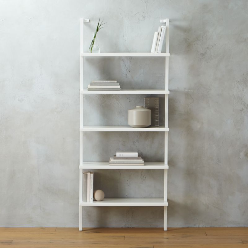 Stairway White Wall Mounted Bookshelf Reviews Cb2