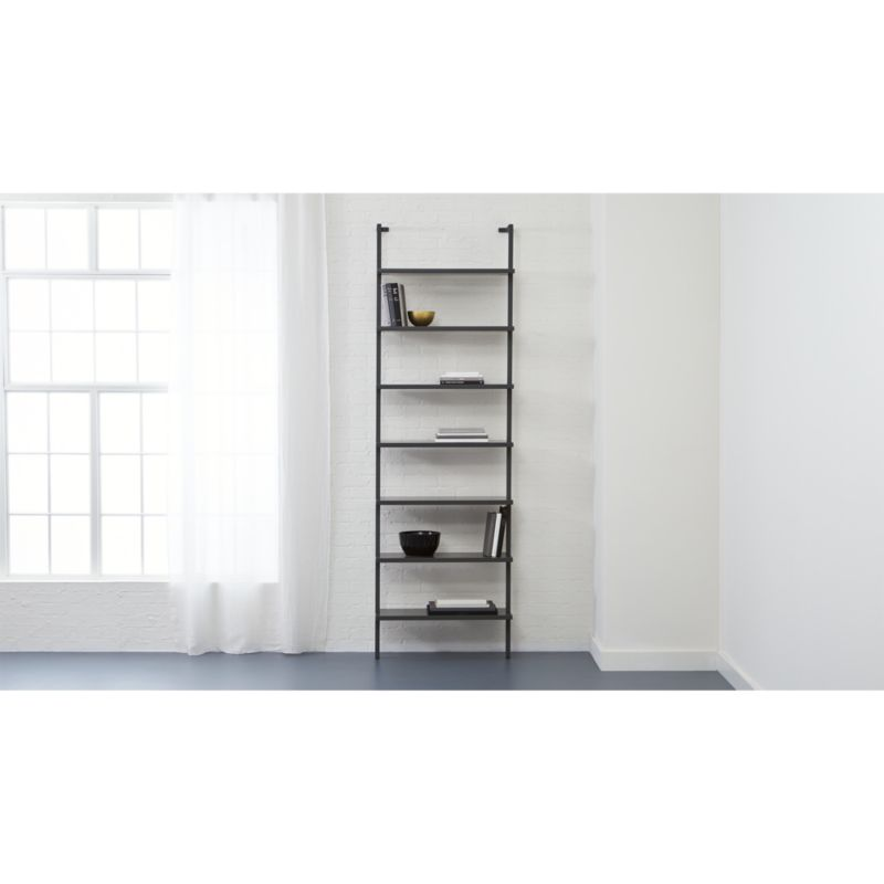 stairway wall mounted grey bookshlef CB2