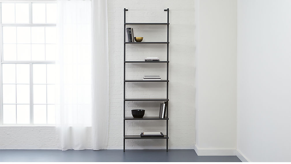 Wall Hanging Bookshelves stairway wall mounted grey bookshlef | cb2