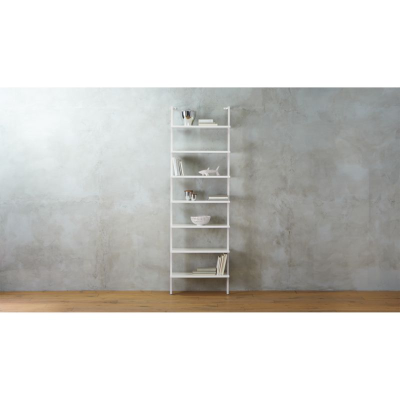 stairway white ladder bookcase CB2