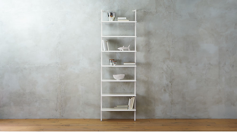 stairway white 96 wall mounted bookcase CB2