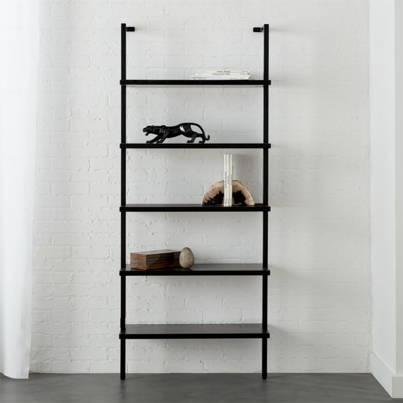 Stairway Black 72 5 Quot Wall Mounted Bookcase Reviews Cb2