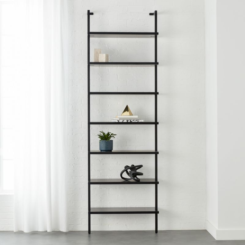 Stairway Black 96 Quot Wall Mounted Bookcase Reviews Cb2