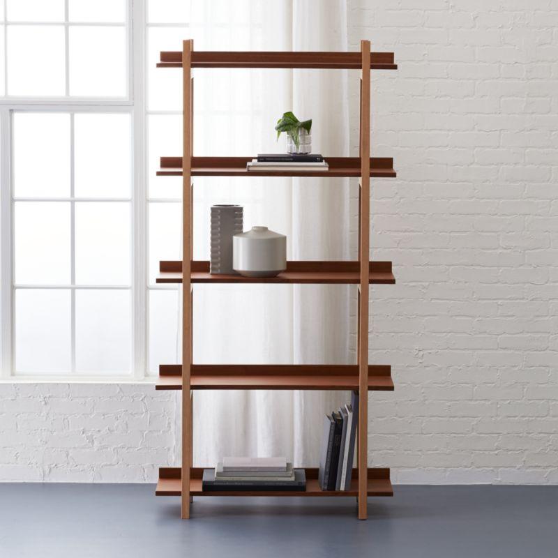 stax walnut bookcaseCB2