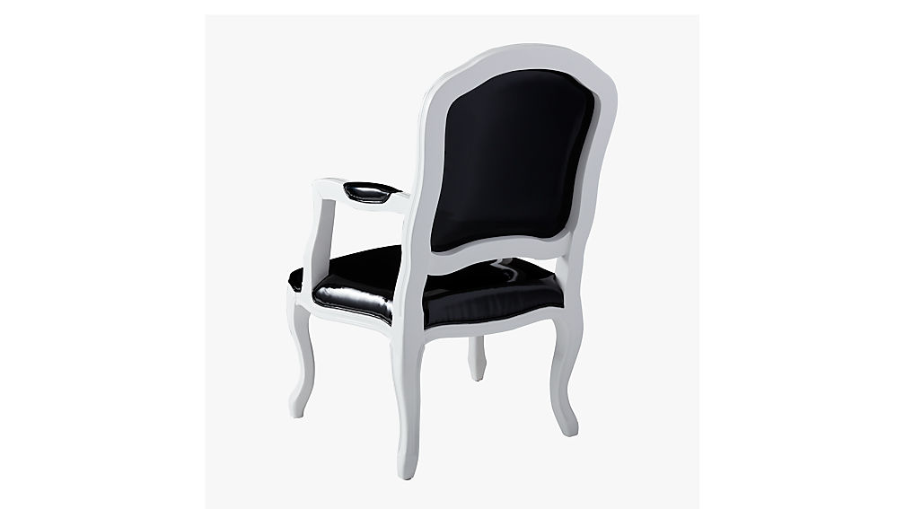 stick around black patent leather arm chair