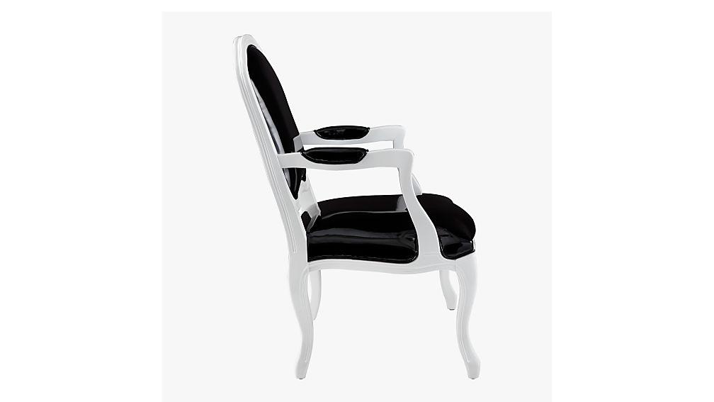 stick around black patent leather arm chair