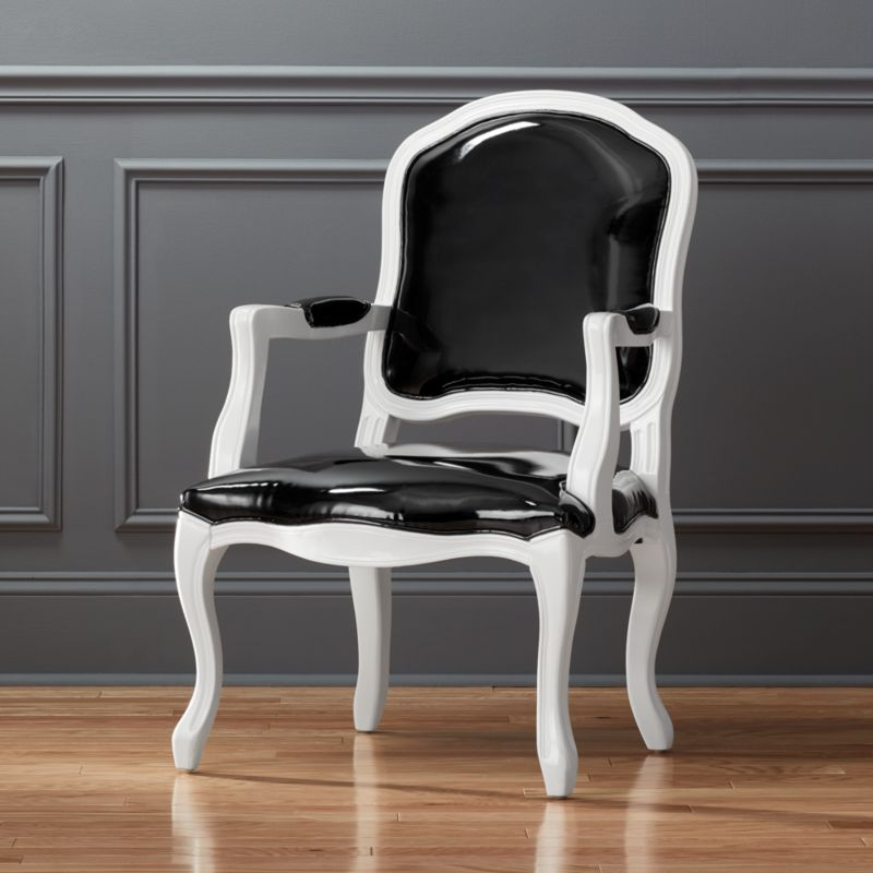 Stick Around Black Patent Leather Chair Cb2
