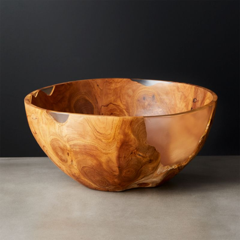 Still Teak Wood And Resin Bowl Reviews Cb2