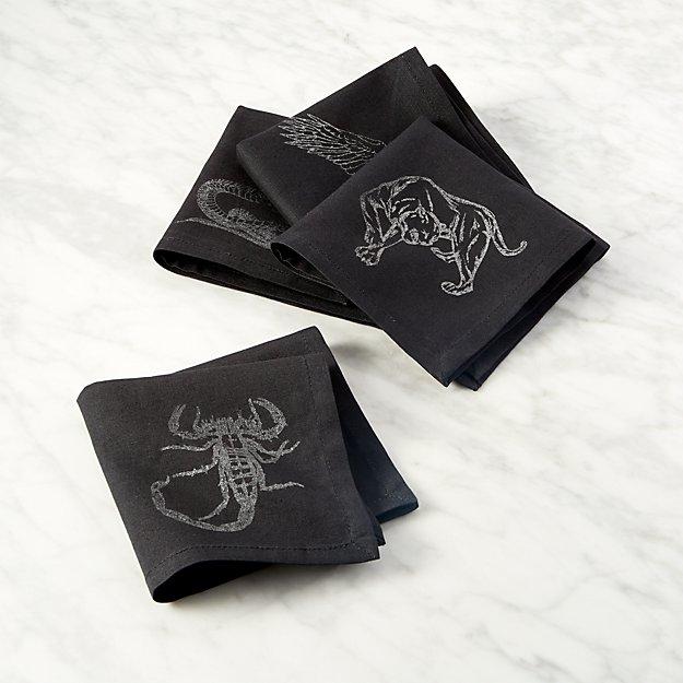 Stinger Black Cocktail Napkins Set of 4