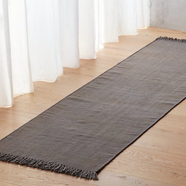 stonewashed cool grey wool rug 2.5'x8'