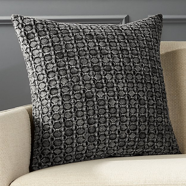 "20"" Black Stonewash Pillow with Down-Alternative Insert"