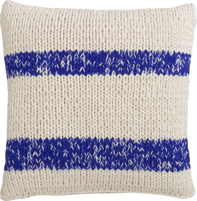 "stream knit blue 20"" pillow with down-alternative insert"