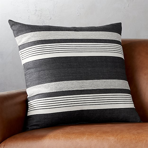 "20"" Stripe Denim Pillow with Feather-Down Insert"