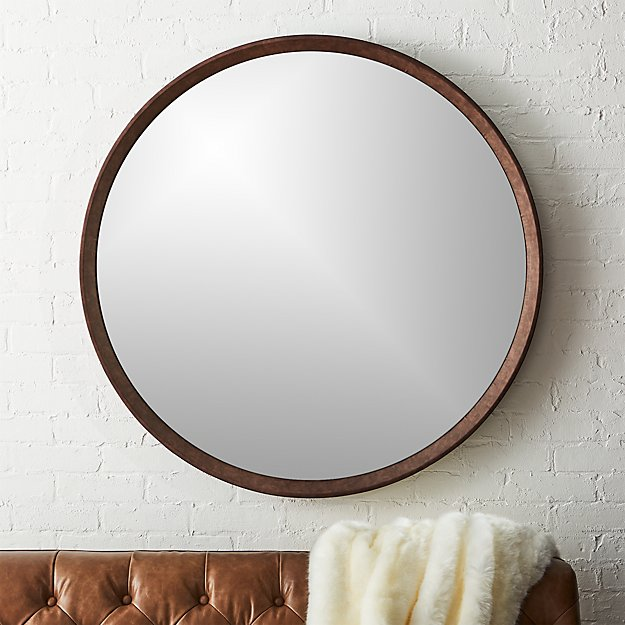 Irvington Brown Suede Wall Mirror 40""