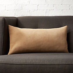 "23""x11"" Suede Camel Tan Pillow  with Down-Alternative Insert"