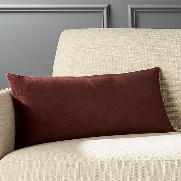 "23""x11"" Suede Burgundy Pillow with Feather-Down Insert"