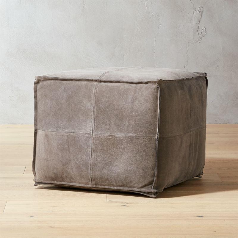 grey suede pouf reviews cb2. Black Bedroom Furniture Sets. Home Design Ideas