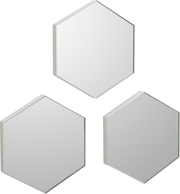 "set of 3 swarm 13""x15"" wall mirrors"