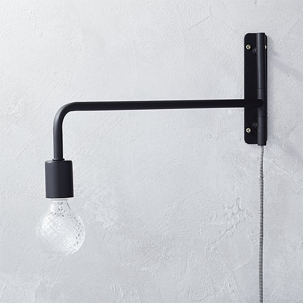 swing arm black wall sconce. swing arm black wall sconce   CB2
