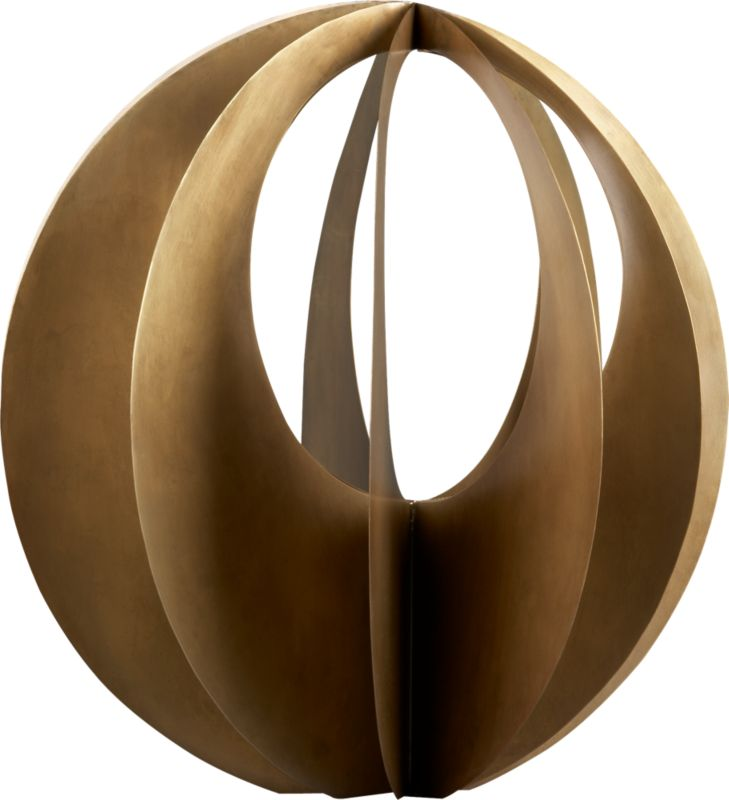 "<span class=""copyHeader"">crescent moon.</span> Convex arc sculpts striking 3-D iron sphere handcrafted with antiqued brass finish and grey finish. Dramatic scale displays hi-impact on mantel, table, bookshelf.<br /><br /><NEWTAG/><ul><li>Handcrafted</li><li>Iron with antiqued brass finish</li><li>Indoor use</li><li>Clean with soft cloth</li></ul>"
