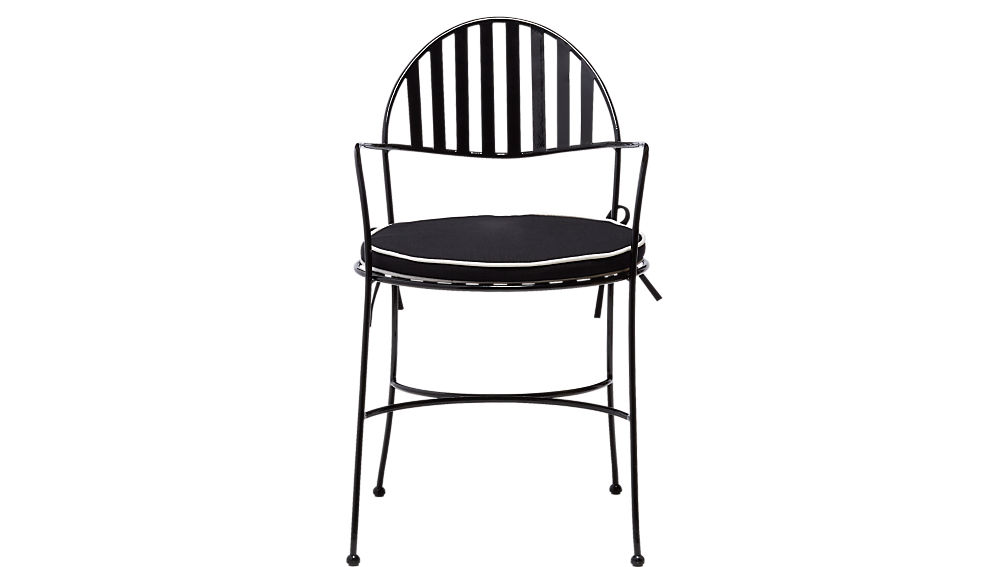 swoop black outdoor chair with cushion